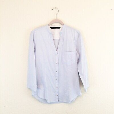 $13.99 • Buy Zara Womens Size Small Blue White Striped Gold Button Down Blouse Basic Casual