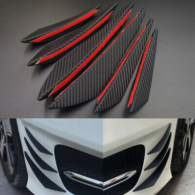 AU24.48 • Buy 6pcs Car Accessories Carbon Fiber Auto Front Bumper Fins Spoiler Canards Refit