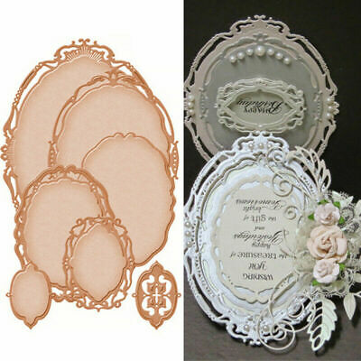 £3.79 • Buy 5Pcs Oval Lace Metal Cutting Dies Stencils Scrapbook Embossing Craft Photo Frame