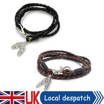 Leather Bracelet Feather Surfer Patrol Clasp Cord Wristband Mens Womens Bangle • 1.99£