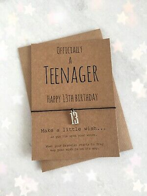 Officially A Teenager Happy 13th Birthday Charm Wish Bracelet Birthday Gift • 2.95£