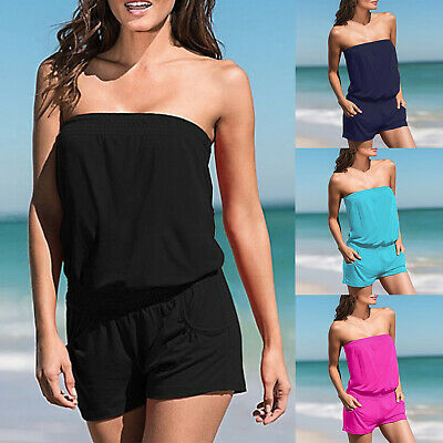 Womens Tube Tops Jumpsuit Bandeau Rompers Casual Summer Beach Shorts Playsuit • 8.49£
