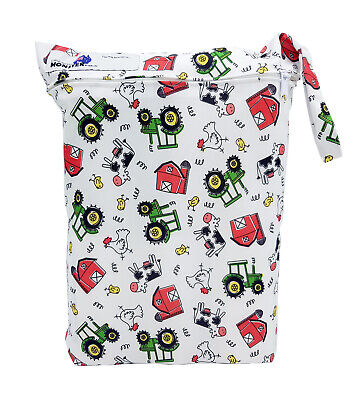 AU9.50 • Buy Farm Tractors Large Zip Dry & Wet Bag - Baby Cloth Nappies, Waterproof