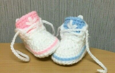 Handmade Crochet Baby First Shoes Wool Casual Boots Trainers Slippers Unisex • 4.99£