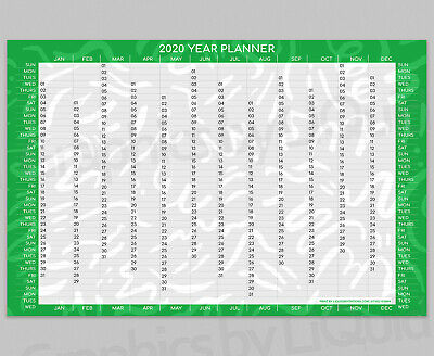 2020 Yearly Planner Annual Year Planner Wall Chart In Green | A4 A3 A2 A1 A0 | • 2.99£