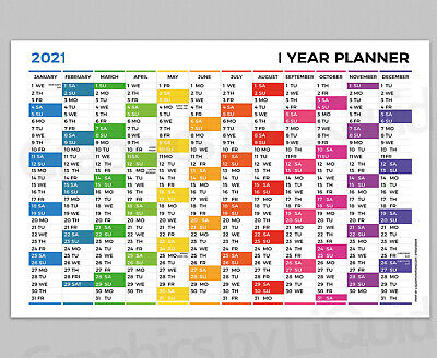 2020 Yearly Planner Annual Year Wall Chart Multi Coloured Planner A4 A3 A2 A1 A0 • 4.99£