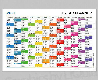2020 Yearly Planner Annual Year Wall Chart Multi Coloured Planner A4 A3 A2 A1 A0 • 2.99£