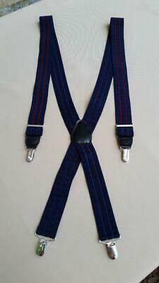 $9.99 • Buy Pelican USA Suspenders - Navy Blue & Wine Red, Black Leather - Silver Tone Clips