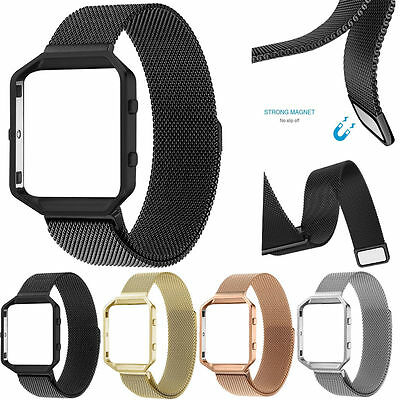 AU17.08 • Buy Milanese Magnetic Loop Stainless Steel Bracelet Band With Frame For Fitbit Blaze