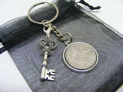 £5.95 • Buy Lucky Sixpence Coin &  Key Of The Door  Charm Keyring - Nice 21st Birthday Gift