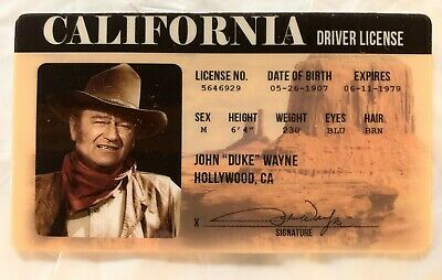 $7 • Buy John Wayne Drivers License Novelty ID Card Duke Cowboy Western California CA