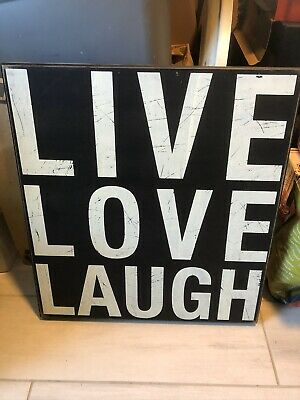 """LIVE LOVE LAUGH ALL WOOD CANVAS WALL ART SIGNAGE (26"""" Tall X 24"""" Wide) • 11.45£"""