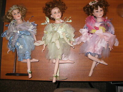 $ CDN45.37 • Buy Lot Of 3 Vintage Swan Collection Porcelain Fairy Faerie  Dolls 19  Tall