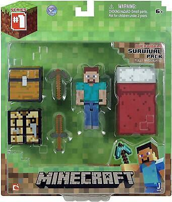 AU19.95 • Buy Minecraft Overworld Survival Pack Steve Action Figure