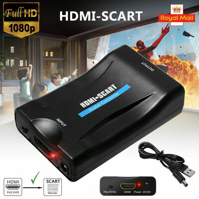 1080P HDMI To SCART Adapter Video Audio Converter USB Cable TV DVD PS3 SkyBox UK • 8.39£