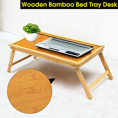 $14.95 • Buy Bamboo Folding Breakfast Lap Tray Over Bed Wood Table Stand Wooden Desk Kitchen