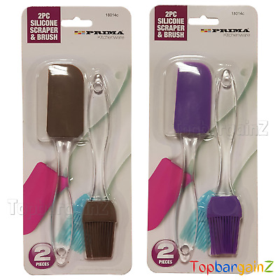 Silicone Pastry Oil Brush Spatula Set Baking Basting BBQ Glazing Clear Handle • 3.29£