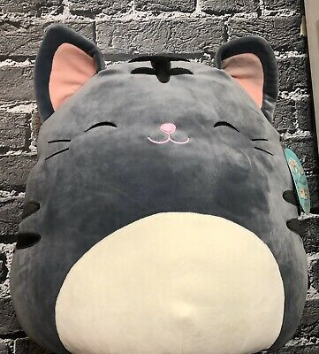 $ CDN43.03 • Buy NEW Squishmallows Kellytoy Tally Gray Grey Kitty Cat Large 16  Plush Toy Pillow