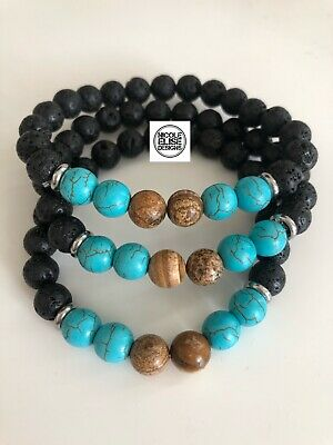 AU12 • Buy Aromatherapy Diffuser Bracelet Lava Stones With  Turquoise & Howlite 8mm Oils