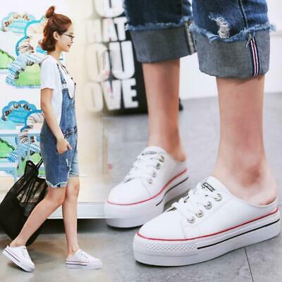 Womens Leather Flatform Wedge Slip On Backless Sneakers Creepers Plimsolls Shoes • 23.99£