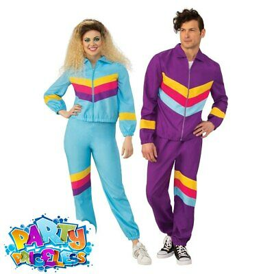 Adult 1980s Shell Suit Costume Mens Womens Scouser Tracksuit Fancy Dress Outfit • 15.99£