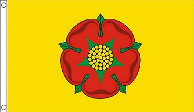 5' X 3' Lancashire Flag Red Rose Yellow Background England English County Banner • 5.30£