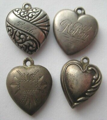 $ CDN13.13 • Buy 1940's-1950's VINTAGE Sterling Silver Puffy HEART Bracelet Charm LOT WWII Era #6