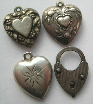 $ CDN13.13 • Buy 1940's-1950's VINTAGE Sterling Silver Puffy HEART Bracelet Charm LOT WWII Era #8