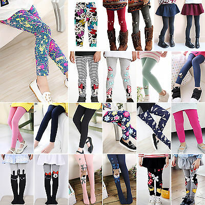 Girls Thick Thermal Stripped Leggings Slim Mickey Pants Trouser Long Sock Warm • 7.39£