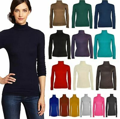 £7.99 • Buy Womens Ladies Long Sleeve Polo Neck Turtle Roll High Neck Jumper Top Sizes 8-26