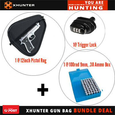 AU28.50 • Buy Xhunter 12  Pistol Rug Bag|Combination Trigger Lock|100Rnd 9Mm .38Cal Ammo Box