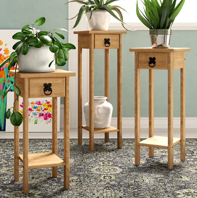 £69.69 • Buy Tall Side Table Small Hall Furniture Lamp Telephone Stand Solid Wood Console Set