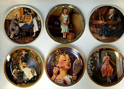 $ CDN80.92 • Buy Lot Of 6 Norman Rockwell Knowles Bradford Exchange Decorative Plates