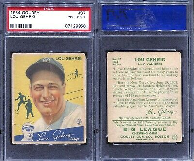 $1200 • Buy 1934 Goudey Lou Gehrig #37 ~ PSA 1 ~ Centered Nice Looking