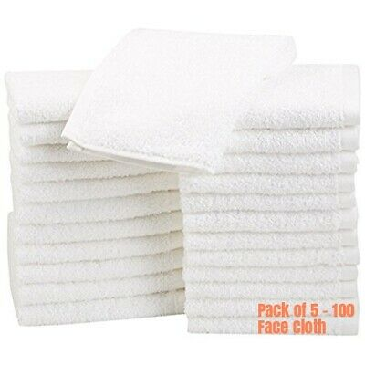 Pack Of 5-100 Face Cloth Towels 500 GSM Wash Cloth Flannels 100% Egyptian Cotton • 8.99£