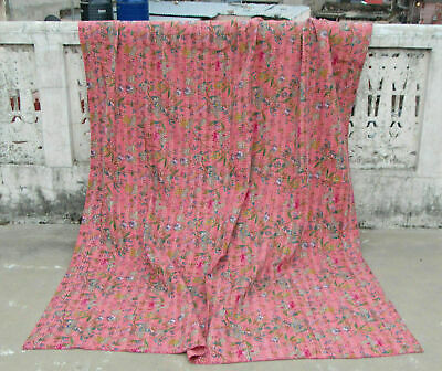 Indian Hand Block Kantha Twin Size Quilt Cotton Pink Bedspread Blanket Throw • 25.55£
