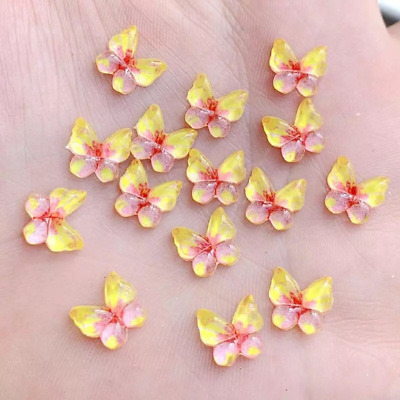 Butterfly Cabochons, Yellow, Set Of 20, Resin, Flat Back, Craft Supplies • 2.75£