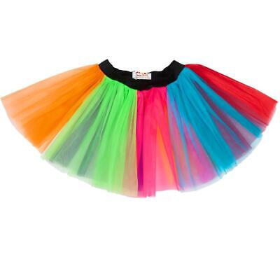 Ladies Rainbow Tutu Skirt Plus Size 14-22 80s Fancy Dress 3 Layer Party Clothing • 4.39£