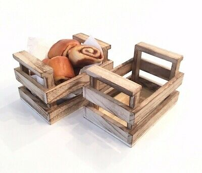 Real Wooden Crate Basket Food Presentation Cute Party Natural  • 8.09£