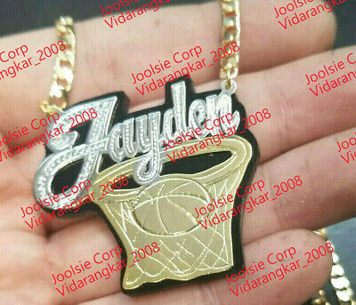 £39.50 • Buy PERSONALIZED  14K GOLD PLATED  BASKETBALL NAME PLATE CHAIN NECKLACE  ANY Color