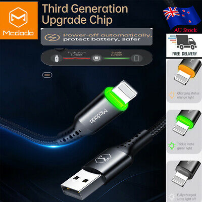 AU13.98 • Buy MCDODO IPhone XS Max XR X 8 7 6s LED Auto Disconnect USB Lightning Cable Charger