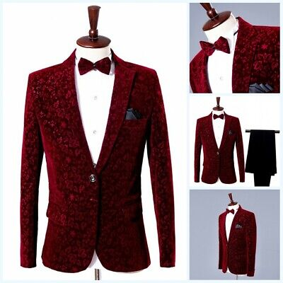 $ CDN113.93 • Buy Men's Formal Dress Suit Costum Velvet Tuxedo Blazer 2Pcs One Button Wedding Prom