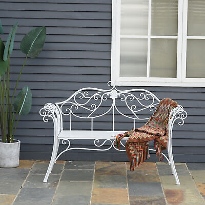 £102.99 • Buy Outsunny Garden Chair Metal Bench Outdoor Patio Deck Seat Yard Furniture Seating
