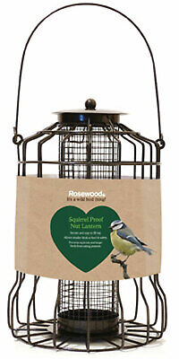 Rosewood Squirrel Proof Lantern Shaped Bird Feeder, Easy To Fill & Secure Cap • 10.88£