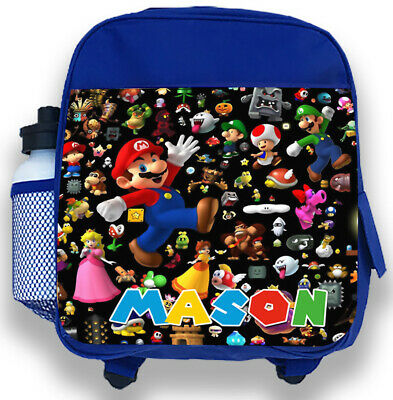 Personalised Kids Blue Backpack Any Name Super Mario Boys Childrens School Bag 3 • 14.95£
