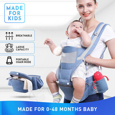 AU38.88 • Buy Ergonomic Infant Baby Carrier With Hip Seat Stool Adjustable Wrap Sling Backpack