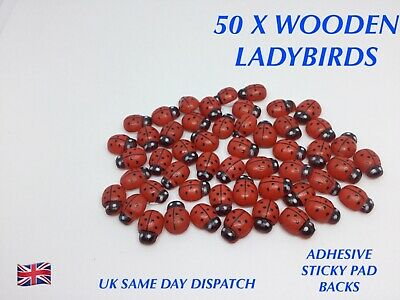 50 X Wooden Ladybird Embellishments Crafts Card Making Decoration Self Sticking • 2.49£