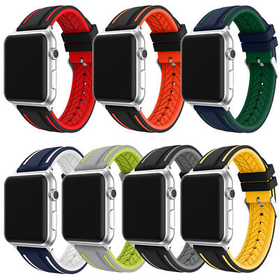 $ CDN14.78 • Buy Sports Silicone Watch Band Strap For Apple Iwatch Series 5/4/3/2/1 38/40/42/44mm