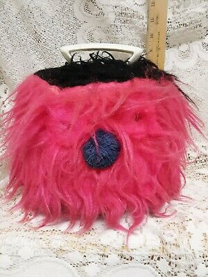 $40 • Buy 60's PINK DISK-GO-CASE ~ Pink Fuzzy Monster ~ 45rpm Record Holder Tote Carrier
