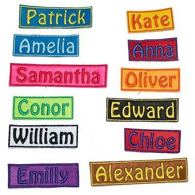 Personalised Embroidered Name Rectangle Patch Badge Many Colours Iron On Sew On • 2.99£